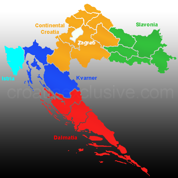 Map of Croatia Regions